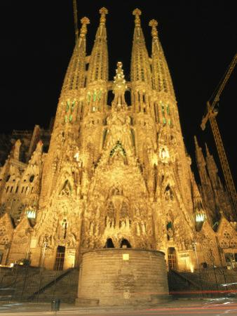 Night View of Antoni Gaudis La Sagrada Familia Temple by Richard Nowitz