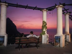Sitting on the Promanade in Piazza Umberto, Capri Island, Italy by Richard Nowitz
