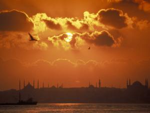 Sunrise over the Golden Horn in Bosporus Sea in Istanbul, Turkey by Richard Nowitz