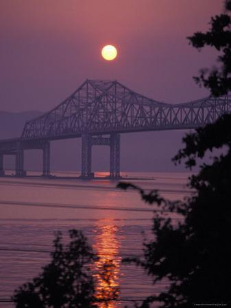 Tappen Zee Bridge at Sunset over the Hudson River in Terrytown, New York by Richard Nowitz