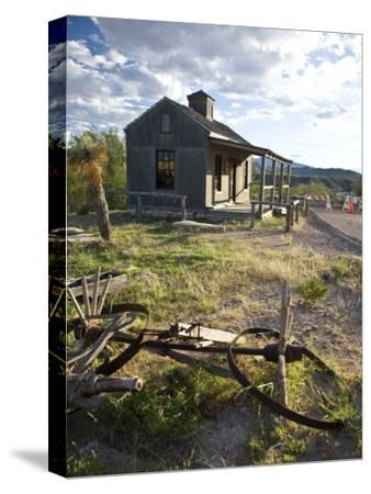 Texas, Western Themed Brewster County. Ruins of Farm Equipment and Wooden Cabin