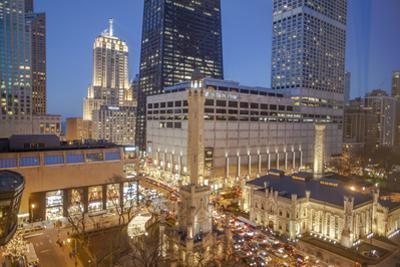 The Historic Chicago Water Tower and Hancock Tower with Water Tower Place, 2013