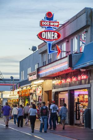 The Wildwood Beach Boardwalk at Twilight with Neon Lights by Richard Nowitz