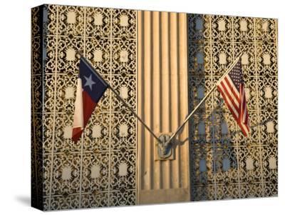 Twilight Flags State of Texas and United States, San Antonio, Texas