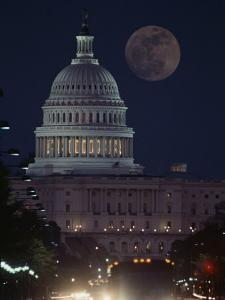 U.S. Capitol with Moon, Night View by Richard Nowitz