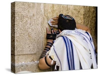 "Western Wall, Jewish Man Wearing a Prayer Shawl ""Talit"" and Phylacteries or Tefillin"