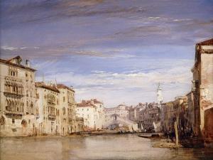 A View of the Grand Canal Venice, from the Palazzo Bernardo Looking Towards the Rialto Bridge by Richard Parkes Bonington