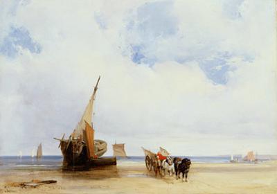 Beached Vessels and a Wagon Near Trouville, c.1825 by Richard Parkes Bonington