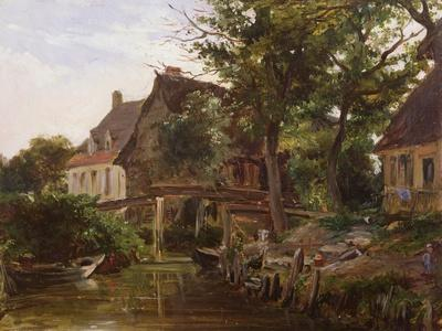 Cottages by a stream, c.1824