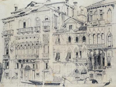 On the Grand Canal, Venice, Italy. Pencil, c.1826