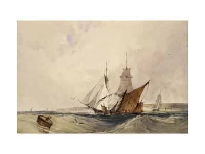 Shipping Off the Kent Coast (Pen and Grey Ink and Watercolours on Paper)