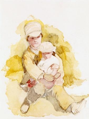 Sketch of Two Children, C.1852 by Richard Redgrave