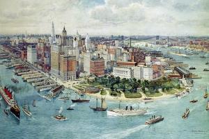 A Bird's Eye View of Lower Manhattan, 1911 by Richard Rummell
