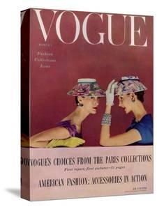 Vogue Cover - March 1954 - Floral Hats by Richard Rutledge