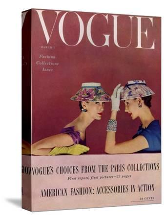 Vogue Cover - March 1954 - Floral Hats