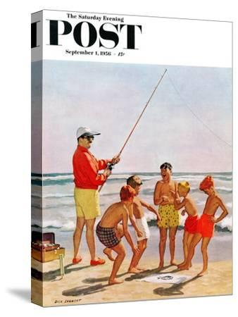 """""""Big Pole Little Fish"""" Saturday Evening Post Cover, September 1, 1956"""