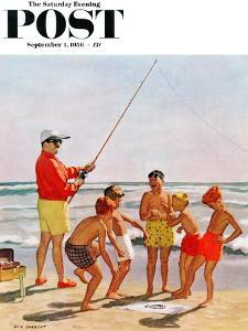 """""""Big Pole Little Fish"""" Saturday Evening Post Cover, September 1, 1956 by Richard Sargent"""