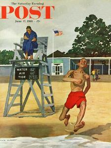 """""""Cold Water Swimmer,"""" Saturday Evening Post Cover, June 17, 1961 by Richard Sargent"""