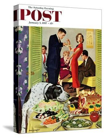 """""""Doggy Buffet"""" Saturday Evening Post Cover, January 5, 1957"""