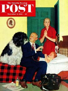 """""""Dr. and the Dog"""" Saturday Evening Post Cover, November 21, 1953 by Richard Sargent"""