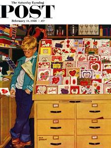 """""""First Valentine"""" Saturday Evening Post Cover, February 11, 1956 by Richard Sargent"""