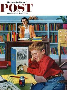 """""""Frog in the Library"""" Saturday Evening Post Cover, February 25, 1956 by Richard Sargent"""