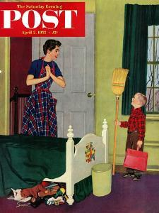 """""""Mom, I Cleaned My Room!"""" Saturday Evening Post Cover, April 2, 1955 by Richard Sargent"""