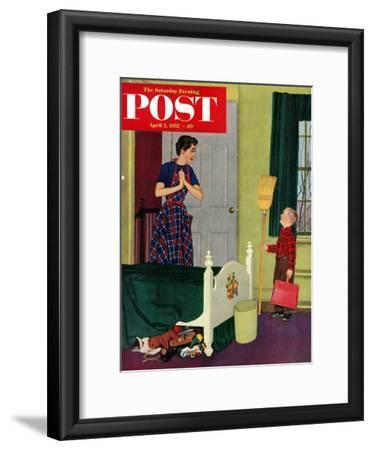 """Mom, I Cleaned My Room!"" Saturday Evening Post Cover, April 2, 1955"