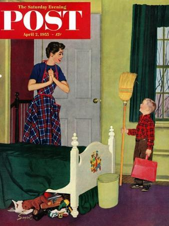 """""""Mom, I Cleaned My Room!"""" Saturday Evening Post Cover, April 2, 1955"""