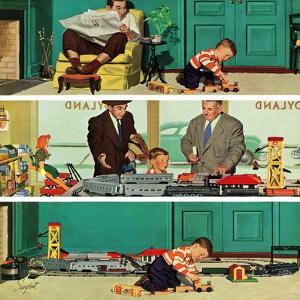 """""""New Toy Train"""", December 19, 1953 by Richard Sargent"""