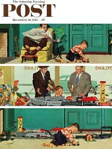 """""""New Toy Train"""" Saturday Evening Post Cover, December 19, 1953 by Richard Sargent"""