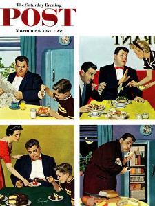 """Night Raid"" Saturday Evening Post Cover, November 6, 1954 by Richard Sargent"