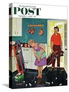 """Putting Around in the Kitchen,"" Saturday Evening Post Cover, September 3, 1960 by Richard Sargent"