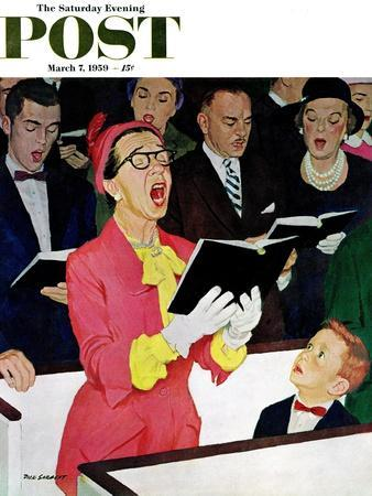 """Singing Praise"" Saturday Evening Post Cover, March 7, 1959"