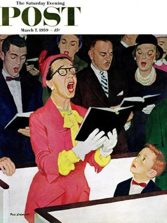 """""""Singing Praise"""" Saturday Evening Post Cover, March 7, 1959"""