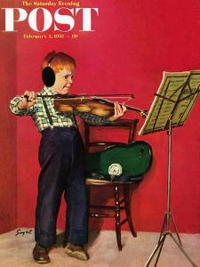 """""""Violin Practice"""" Saturday Evening Post Cover, February 5, 1955 by Richard Sargent"""