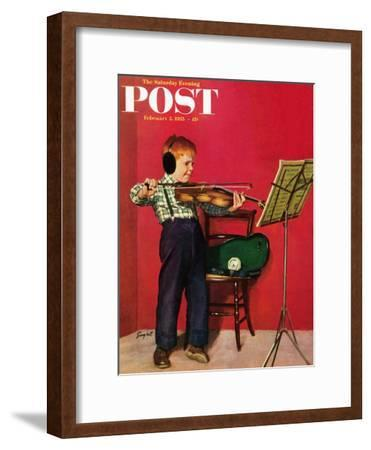 """Violin Practice"" Saturday Evening Post Cover, February 5, 1955"