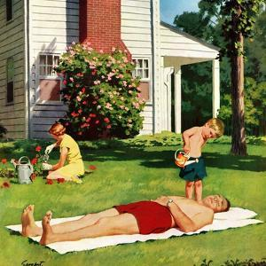 """""""Watering Father"""", June 4, 1955 by Richard Sargent"""