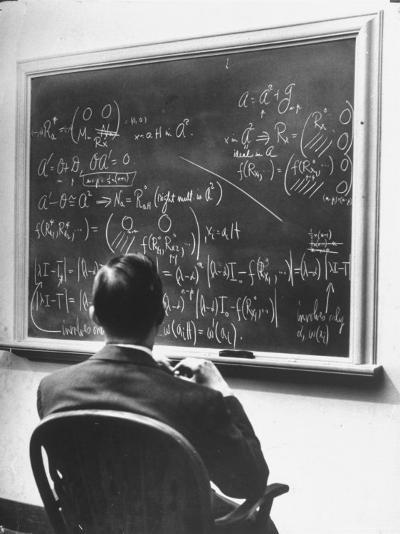 Richard Schafer, an Expert in the Field of Non Associative Algebras, Studying Complicated Formulas-Alfred Eisenstaedt-Premium Photographic Print