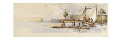Watercolor of Captain John Smith in Discovery Barge Meeting Indians by Richard Schlecht