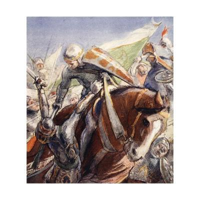 Richard Wielding His Axe Upon the Saracens--Giclee Print