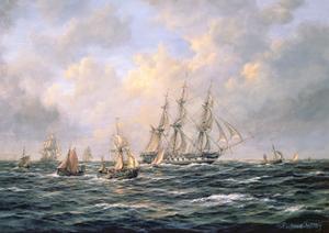 Convoy of East Indiamen Amid Fishing Boats by Richard Willis