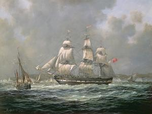 """East Indiaman H.C.S. """"Thomas Coutts"""" Off the Needles, Isle of Wight by Richard Willis"""