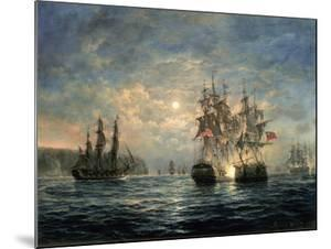"""Engagement Between the """"Bonhomme Richard"""" and the """"Serapis"""" Off Flamborough Head, 1779 by Richard Willis"""
