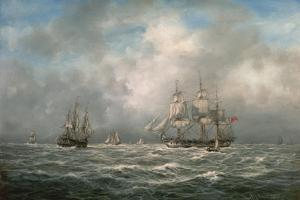 Frigate Hove-To, Awaiting a Pilot by Richard Willis