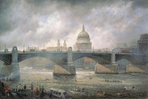 St. Paul's Cathedral from the Southwark Bank, Doggett Coat and Badge Race in Progress by Richard Willis