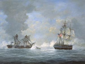The Action Between U.S and the British 'Macedonian' Frigate Off the Canary Islands on Oct 25, 1812 by Richard Willis