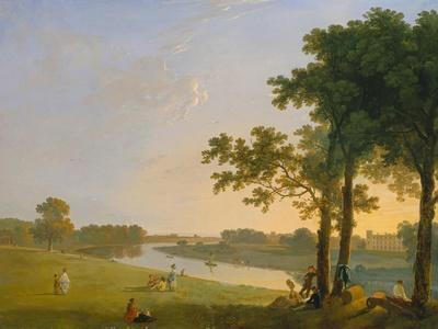 View across the Thames River Near Kew Gardens onto Syon House, about 1760/1770