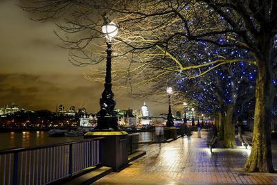 Thames River Bank Offers a Well Lit Walk, London, Uk