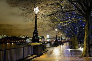 Thames River Bank Offers a Well Lit Walk, London, Uk by Richard Wright